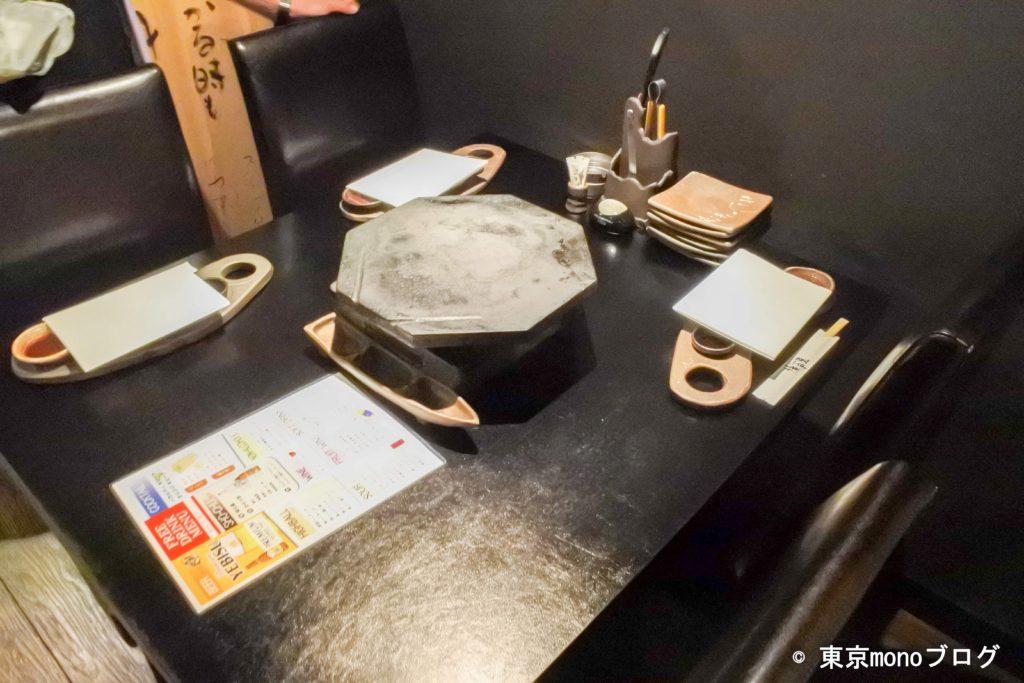 溶岩焼薩摩屋の席の様子