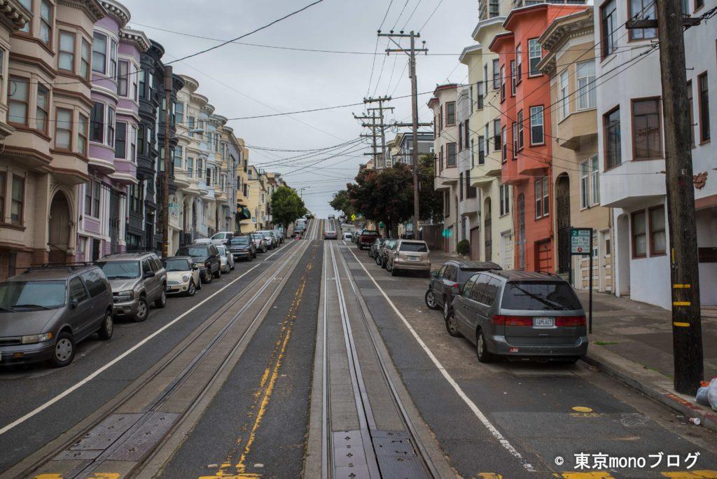 サンフランシスコのケーブルカーから見た住宅地の様子