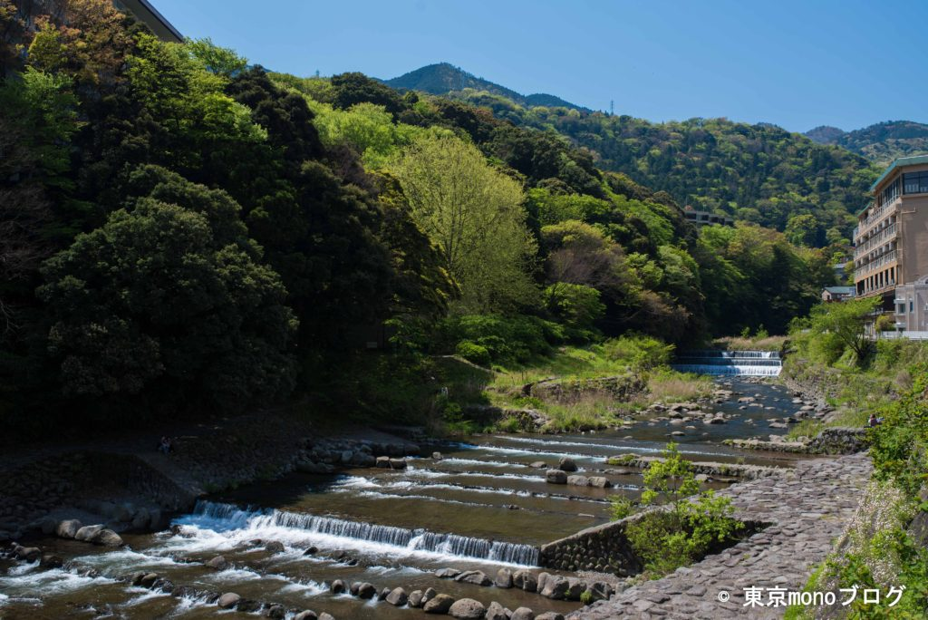 箱根湯本駅の近くに流れている川
