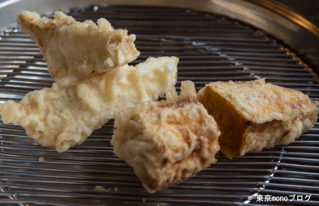 天ぷらと和食山の上 ハクレイタケとカボチャの天ぷら