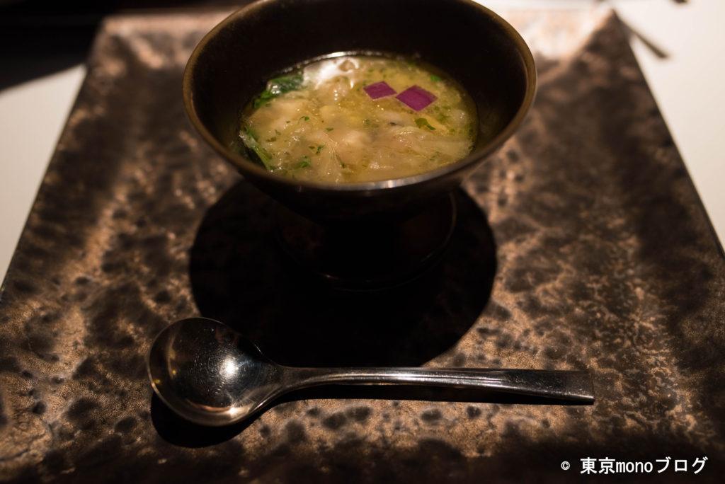 リストランテ・ヒロ青山 あんこうと白菜のスープ