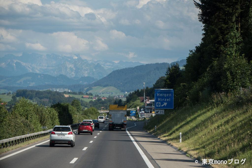 スイスの高速道路の景色
