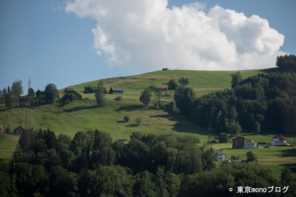 急な斜面に建っているスイスの家