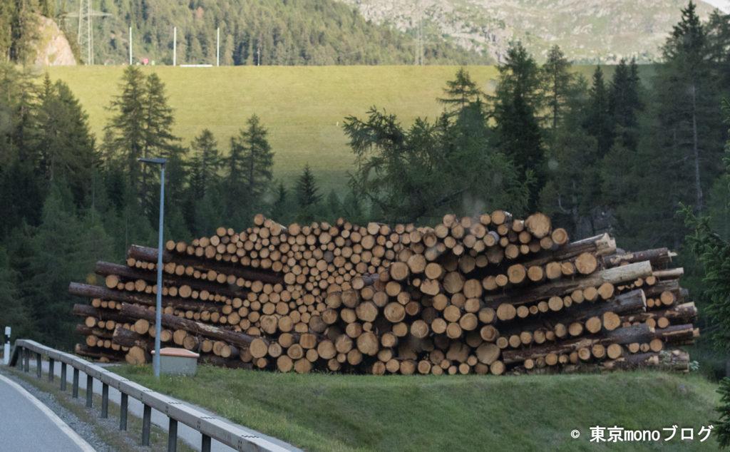 道路横に置かれていた薪