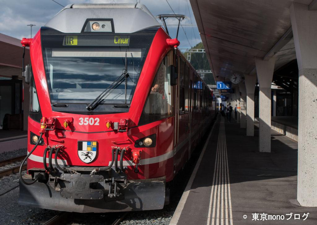 レーティッシュ鉄道ベルニナ線の赤い電車