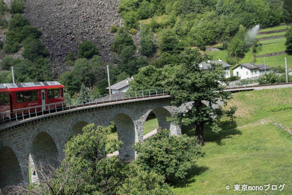 ループ橋とベルニナ線の赤い車両