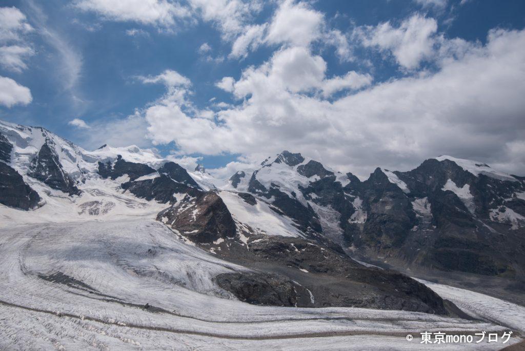 ピッツ・パリュとペルス氷河のやや右側