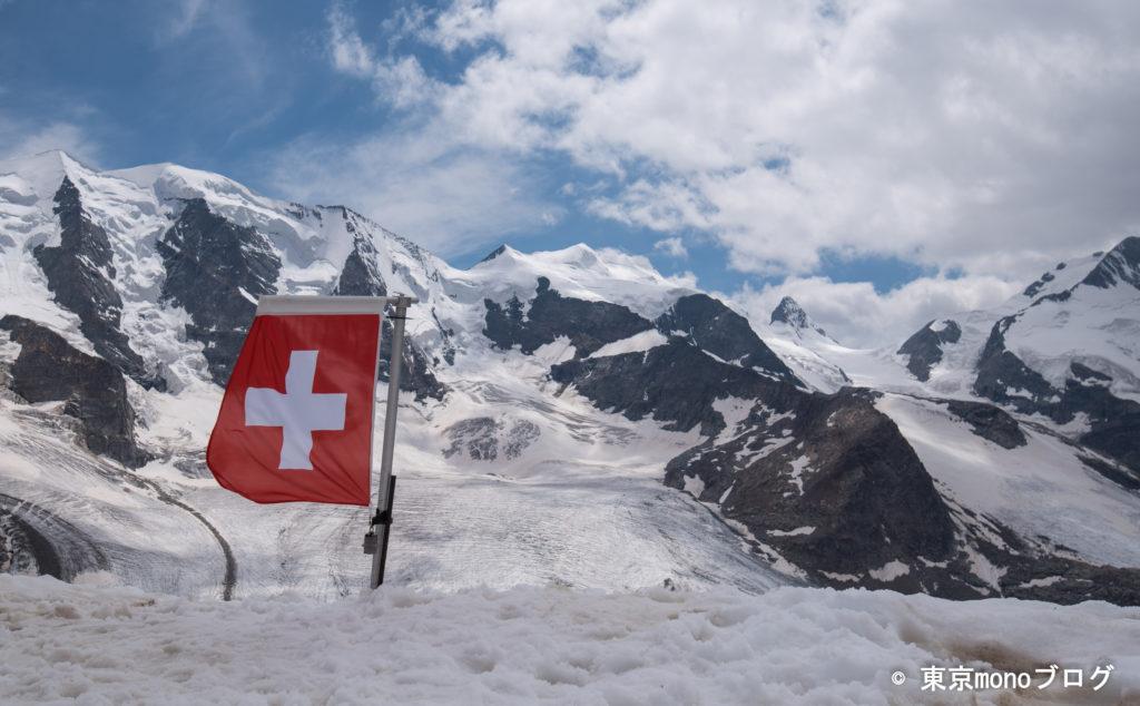 スイス国旗が記念撮影のポイントになっていました。