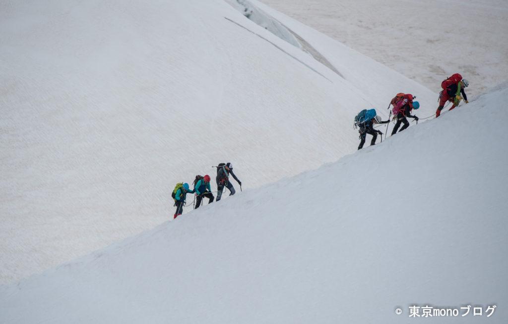 登山者をズームして撮影