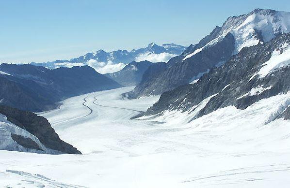 スフィンクス展望台から見える、ヨーロッパ最長のアレッチ氷河