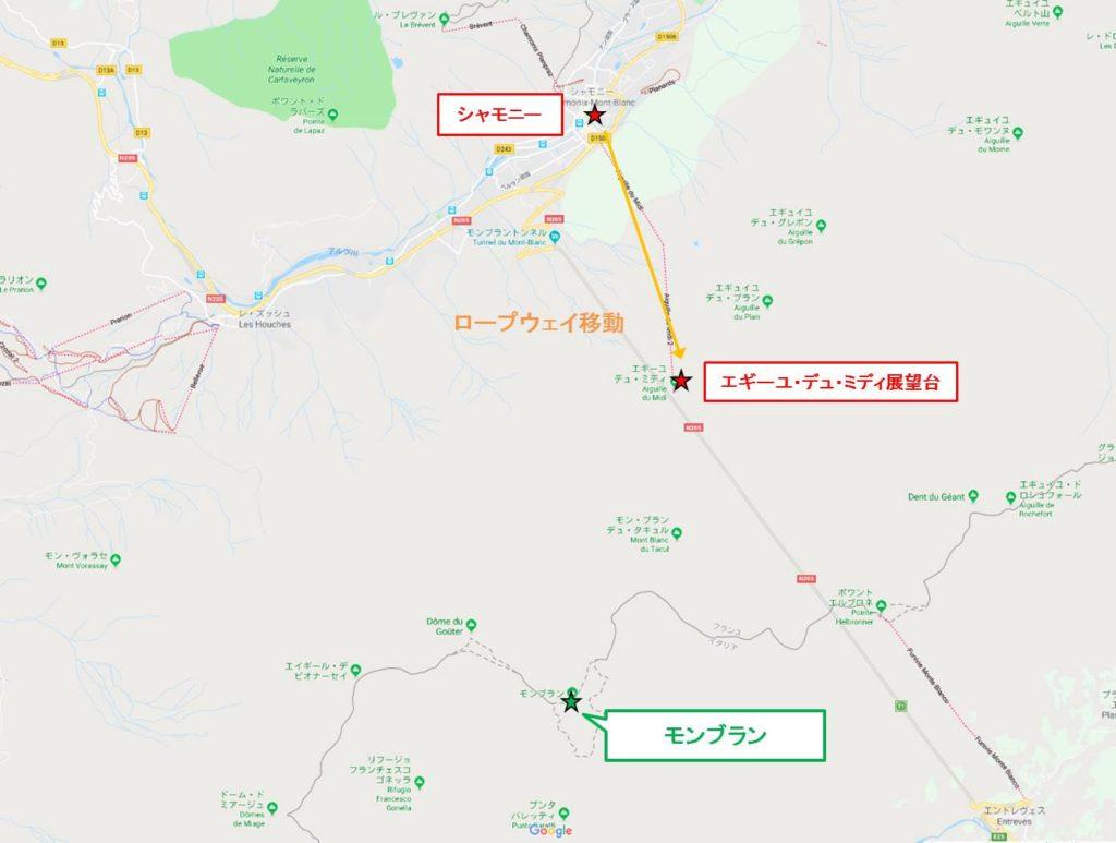 シャモニー拡大map : シャモニーからエギーユ・デュ・ミディ展望台