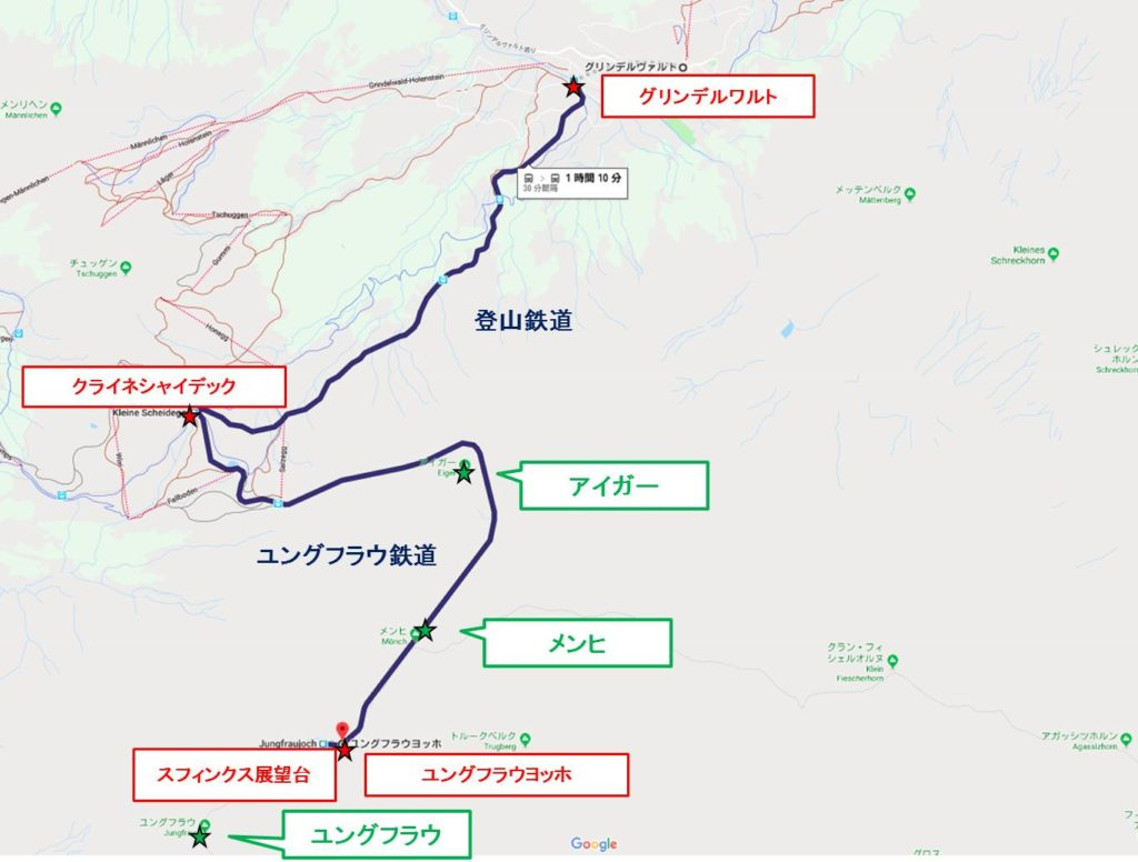 グリンデルワルト拡大map : グリンデルワルトからスフィンクス展望台