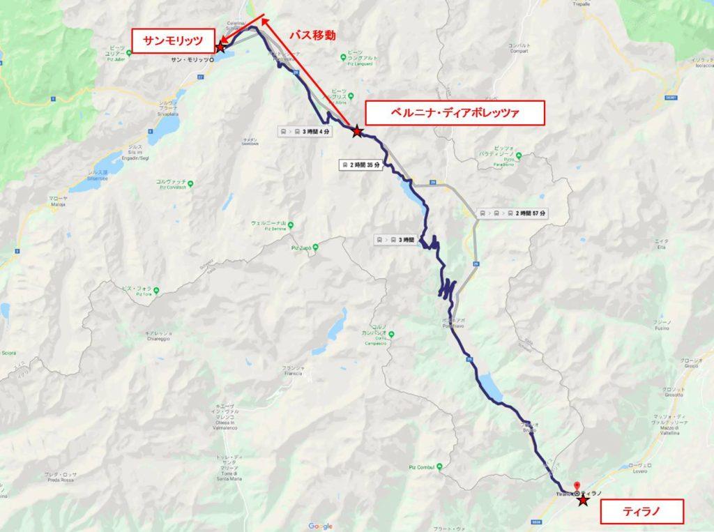 ベルニナ線拡大map : ディアボレッツァ展望台からサンモリッツ