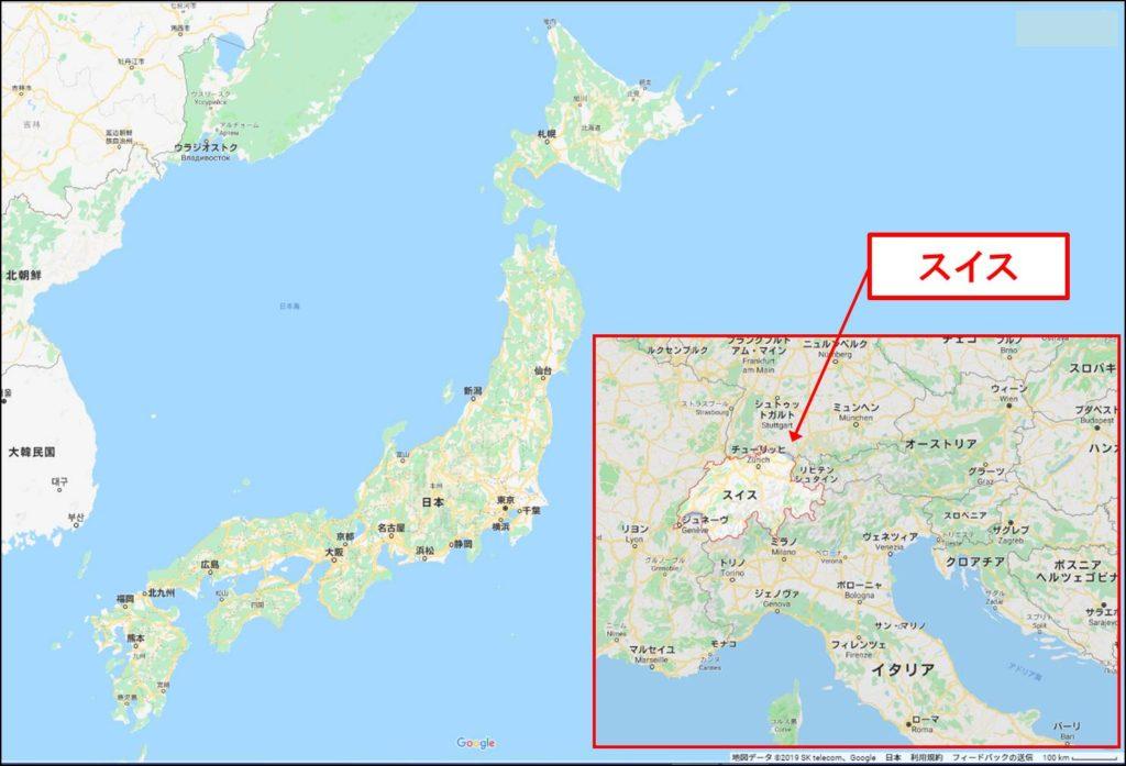 日本とスイスの面積比較